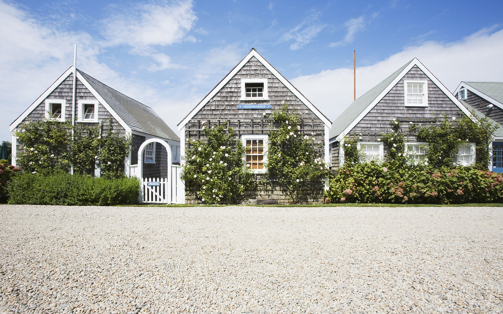 Rose-covered cottages, Nantucket Island, Massachusetts, USA